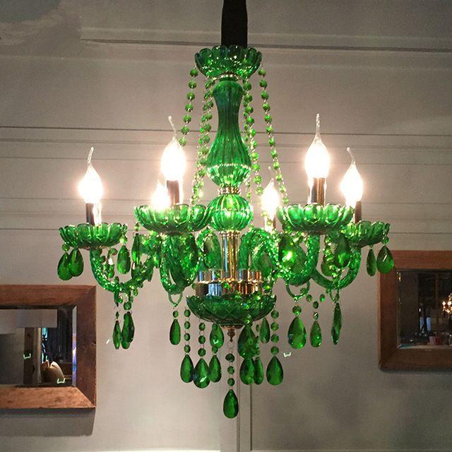 JESS Lampadario a led moderno per sala da pranzo Lampade da cucina per  cucina Lustre de cristal teto Lampadario in vetro di colore verde