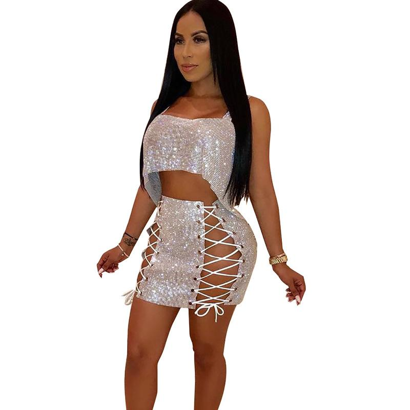 014ac238a932 Sexy Sparkly Women's Sets Sequined Two Piece Skirt Set Strapless Crop Top  and Bandage Mini Skirt Luxury Party Matching Outfits