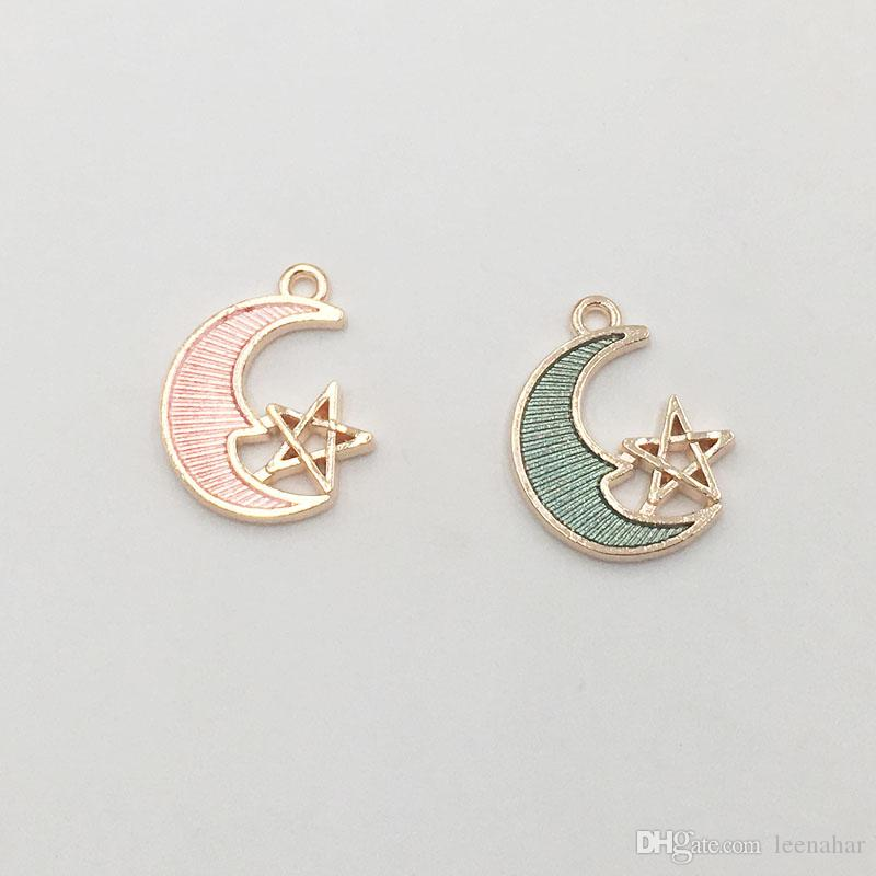19*15mm Fashion Design Enamel Moon Star Charms Alloy Metal Pendant for DIY Bracelet Earrings Accessories
