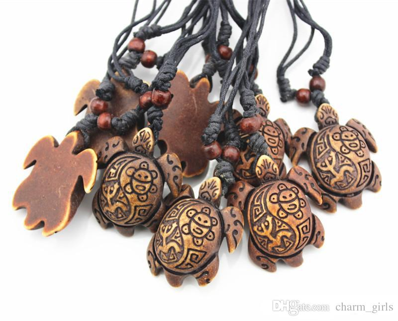 Fashion men Yak Bone Powder Carved Sun Smiley Frog Surfer Turtles Pendant Charm Necklace Wood Beads Adjustable Rope Necklace