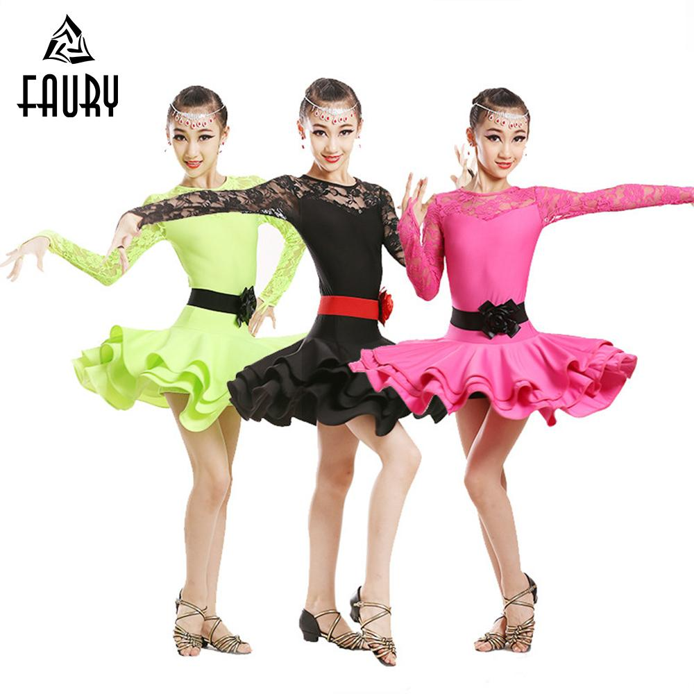 d821f0dad11e 2019 Girls Ballet Dance Dress Children Cha Cha Kid Competition Latin ...