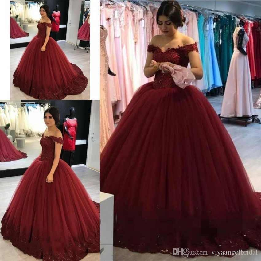 e52f2df728d Elegant Burgundy Off Shoulder 2019 Quinceanera Dresses Ball Gown Lace  Appliques Sweet 16 Arabic Long Puffy Tulle Party Prom Evening Gowns Red  Dresses Gowns ...