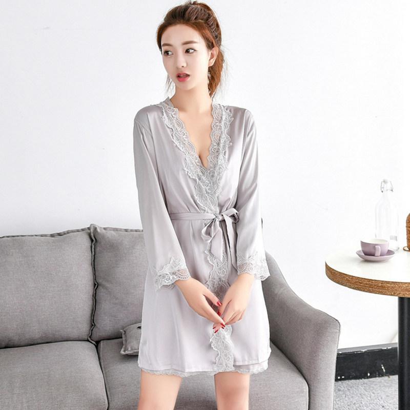 e1c3cc312b 2019 Sexy Ladies  Lace Satin Silk Robe Gown Solid Soft Nightgown Nightwear Kimono  Bathrobe Sleepwear Wedding Bride Bridesmaid Robes From Amandal
