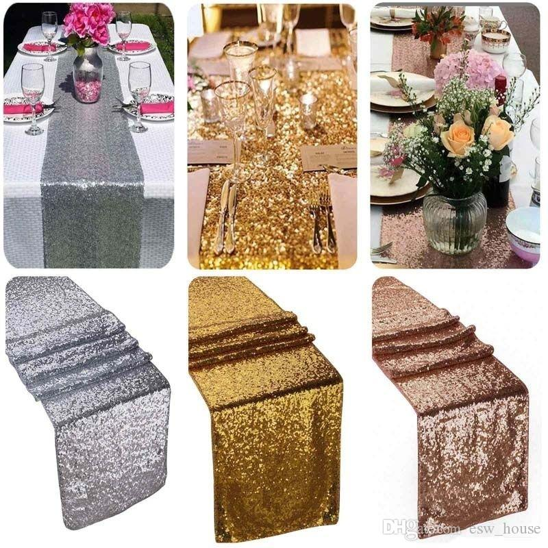 30*270cm Sequin Fabric Table Runner Gold Silver Sequin Table Cloth Sparkly Bling for Wedding Party Decoration Products Supplies