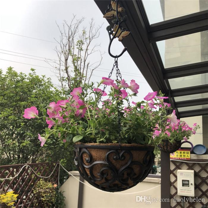 2019 Half Round Cast Iron Hanging Flower Basket Rack
