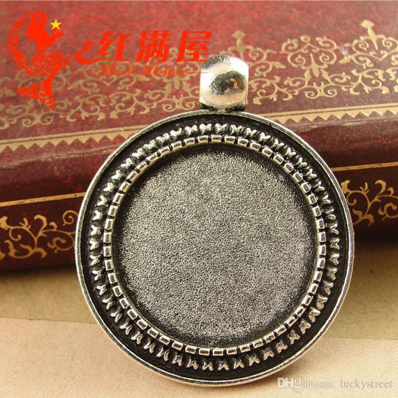 A3931 28*34MM Fit 20MM Antique Bronze round diy handmade jewelry wholesale metal stamping blank, tibetan silver cameo setting bezel