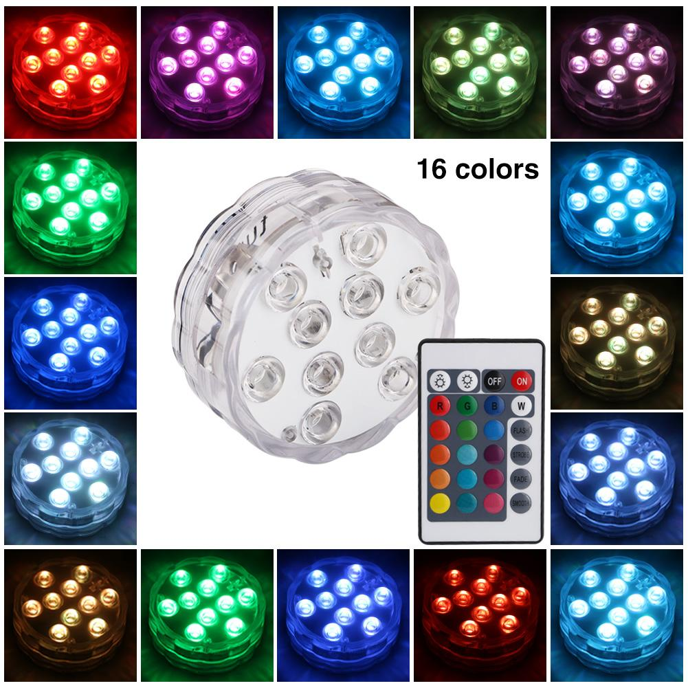 Lights & Lighting 10leds Rgb Led Underwater Light Pool Diving Ip67 Waterproof Pool Lamp Battery For Wedding Party Operation