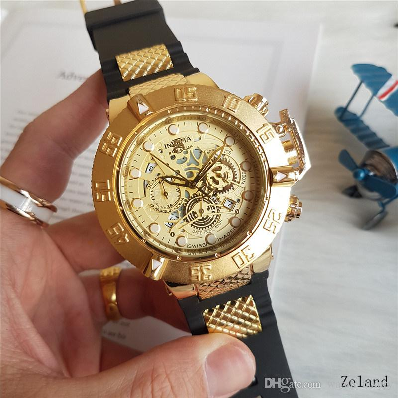 4cb01f591e3 Compre 2018 INVICTA Luxury Gold Watch Todos Los Diales De Trabajo Hombres  Sport Quartz Watches Cronógrafo Auto Date Rubber Band Reloj De Pulsera Para  Hombre ...