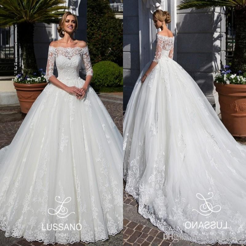 Ball Gown Lace Wedding Dresses 2018 New Elegant Sheer Off Shoulder Sweep  Train Lace Appliques Illusion 1 2 Sleeves Plus Size Bridal Gowns Sweetheart  Ball ... f6425af9b885