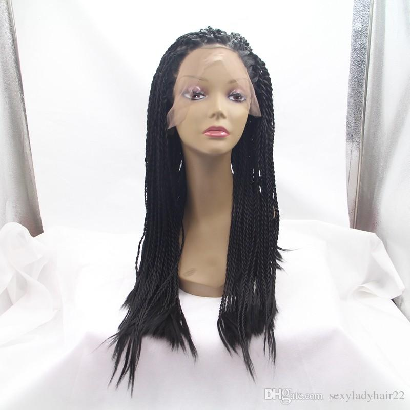 Full Density Braided Lace Front Wigs Box Synthetic Fiber Wigs Thick Full Hand Twist Synthetic Hair Micro Havana Twist Wigs