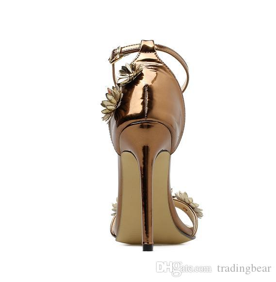 sexy pumps fashion luxury designer women shoes copper flower ankle strappy high heels size 35 to 40