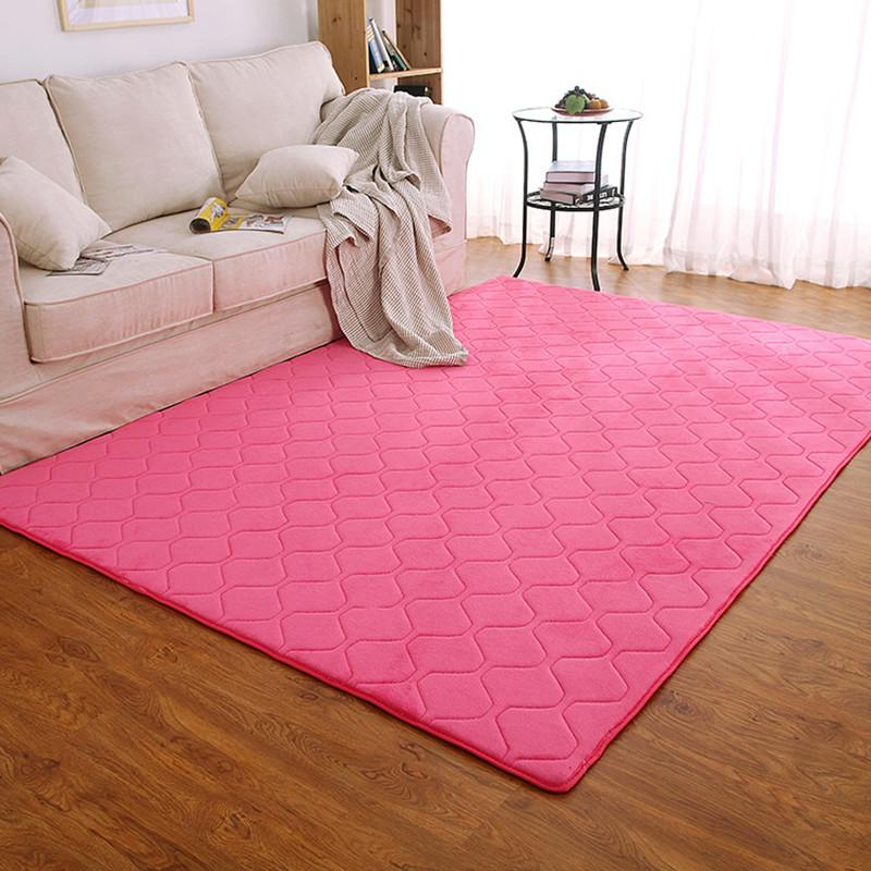 Living room Big Area Carpet Pink Rugs Decoration Coral Velvet Soft Carpets  Rug Anti-skid Door Mat Bedroom Home Textiles Blanket