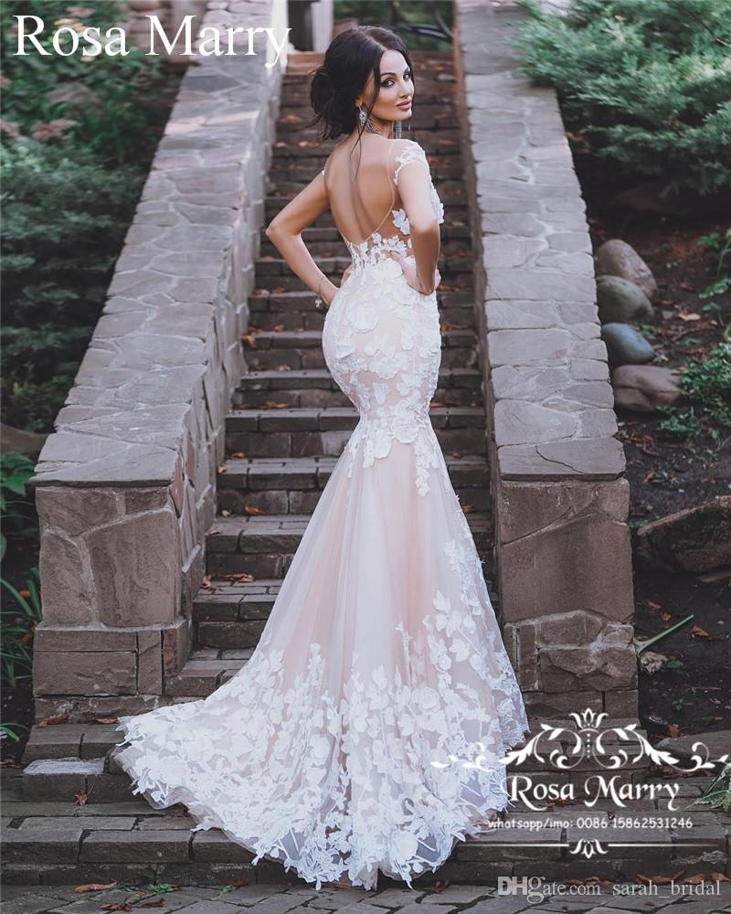 813f0e67af6b Sexy Blush Mermaid Backless Country Wedding Dresses 2018 Sheer Lace  Appliques Plus Size Arabic African Vestido De Novia Cheap Bridal Gowns UK  2019 From ...