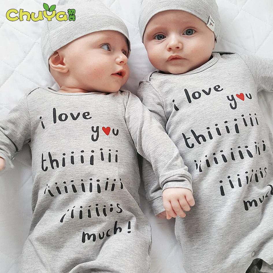 2018 spring autumn fashion twins baby clothes letter printing rompers hats baby girls boys clothing sets newborn costume
