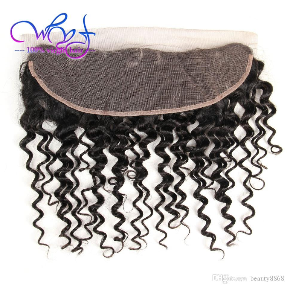 WYF 7A Brazilian Deep Wave Hair Bundles With Frontal Closure Unprocessed Brazilian Virgin Human Hair 4 Bundles Deep Wave Human Hair Weaves