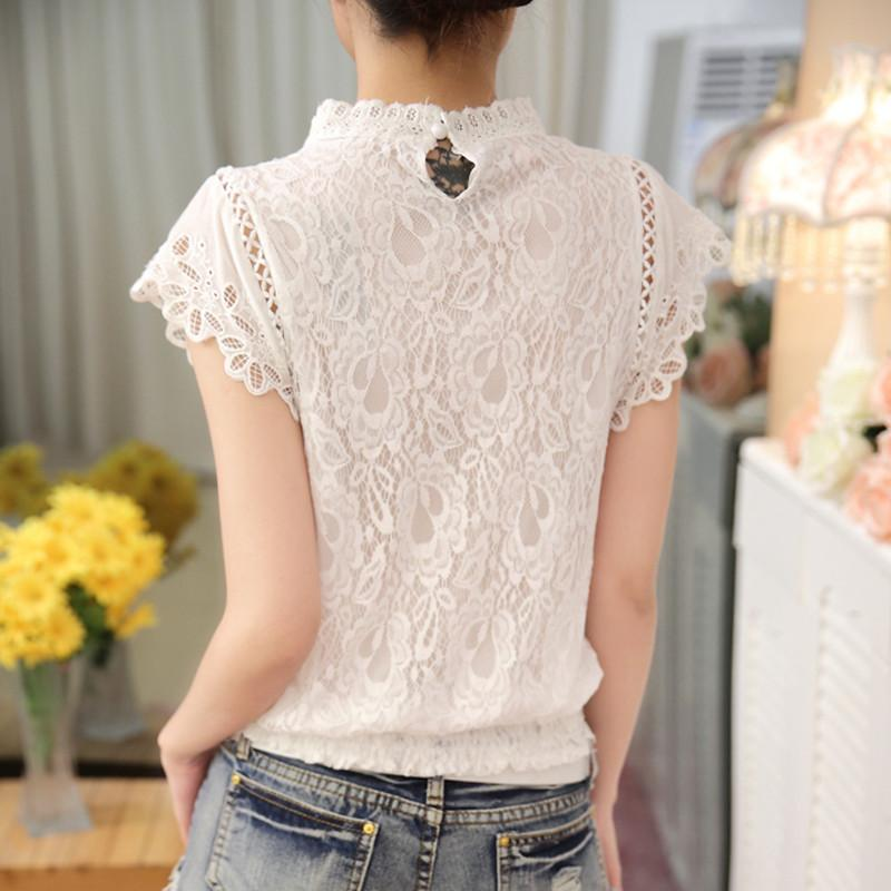 New 2016 Summer Fashion elegant solid Women Blouses Petal Sleeve Lace Chiffon O-neck Plus Size Shirt Tops 01C 35