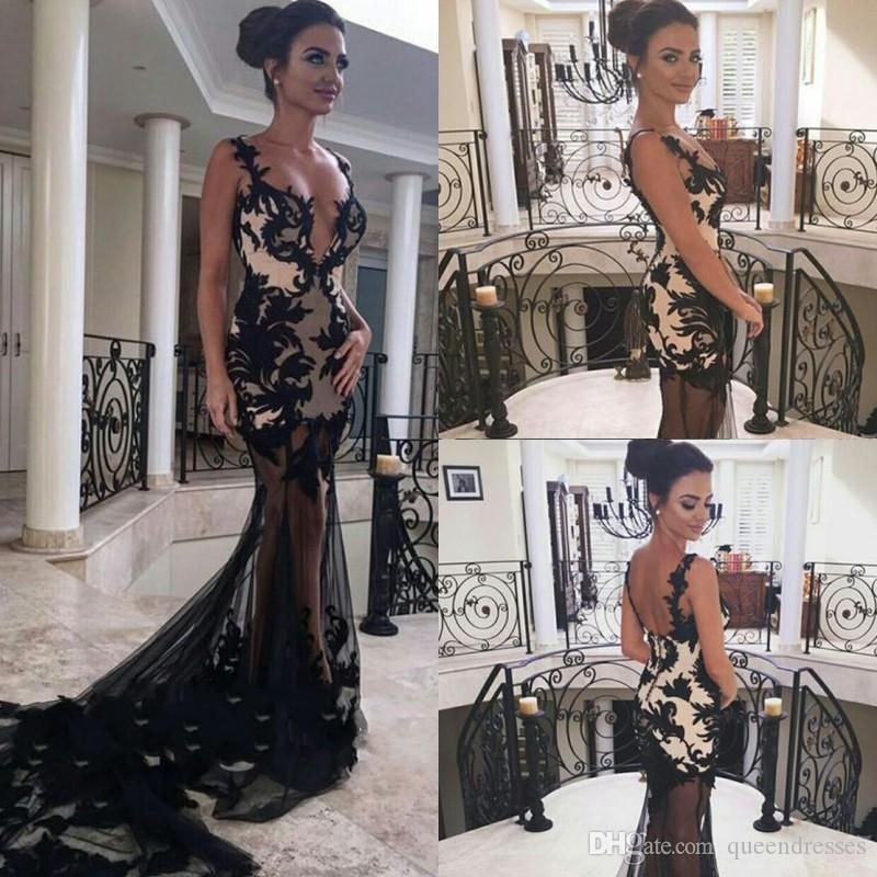 Elegant Black Long Evening Dresses Sheer Lace Mermaid Evening Gowns Backless Illusion Sweep Train Special Occasion Prom Party Dresses Online