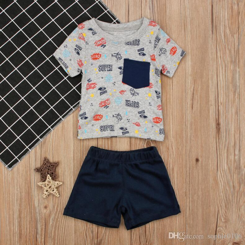 Boy Summer Car Print Short Sleeve T-shirt and Pants Suits Two Pieces Baby Cotton Short Tops and Trunks Set Baby Clothing CN B015