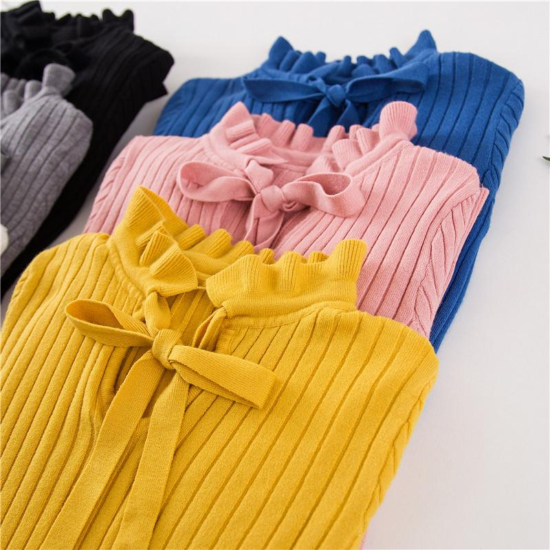 8ae161935d 2019 2018 Autumn Winter Knitted Sweater Pullover Pull Femme Cute Warm White  Yellow Lace Up Ruffles Turtleneck Women Sweater Jumper D1892002 From  Yizhan01