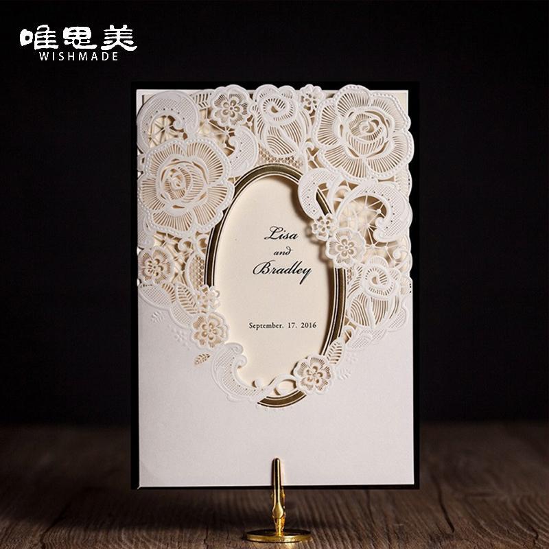 Wishmade White Mirror Frame Wedding Invitations Elegant Laser Cut ...