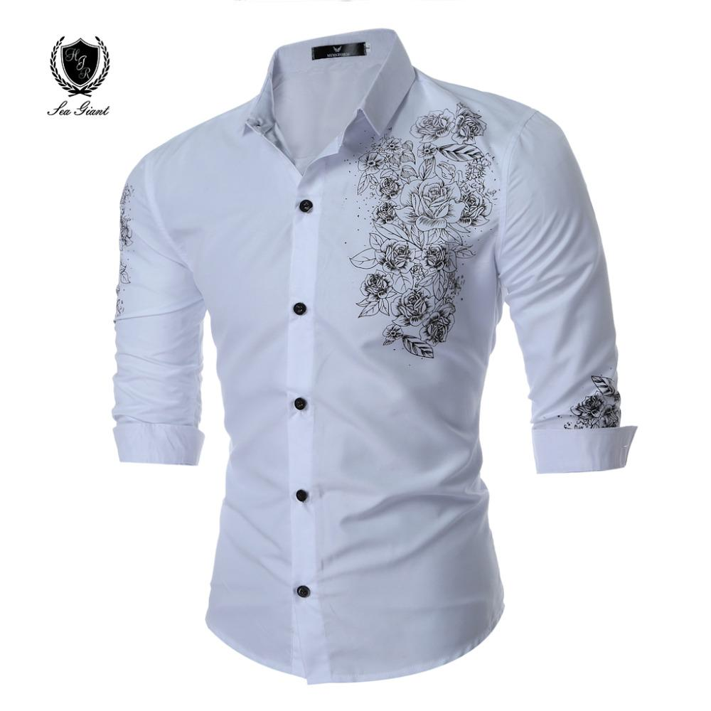 f22f889f Fashion Brand Men Clothes Slim Fit Men Long Sleeve Shirt Floral Printed  Cotton Casual dress Shirt Social menswear