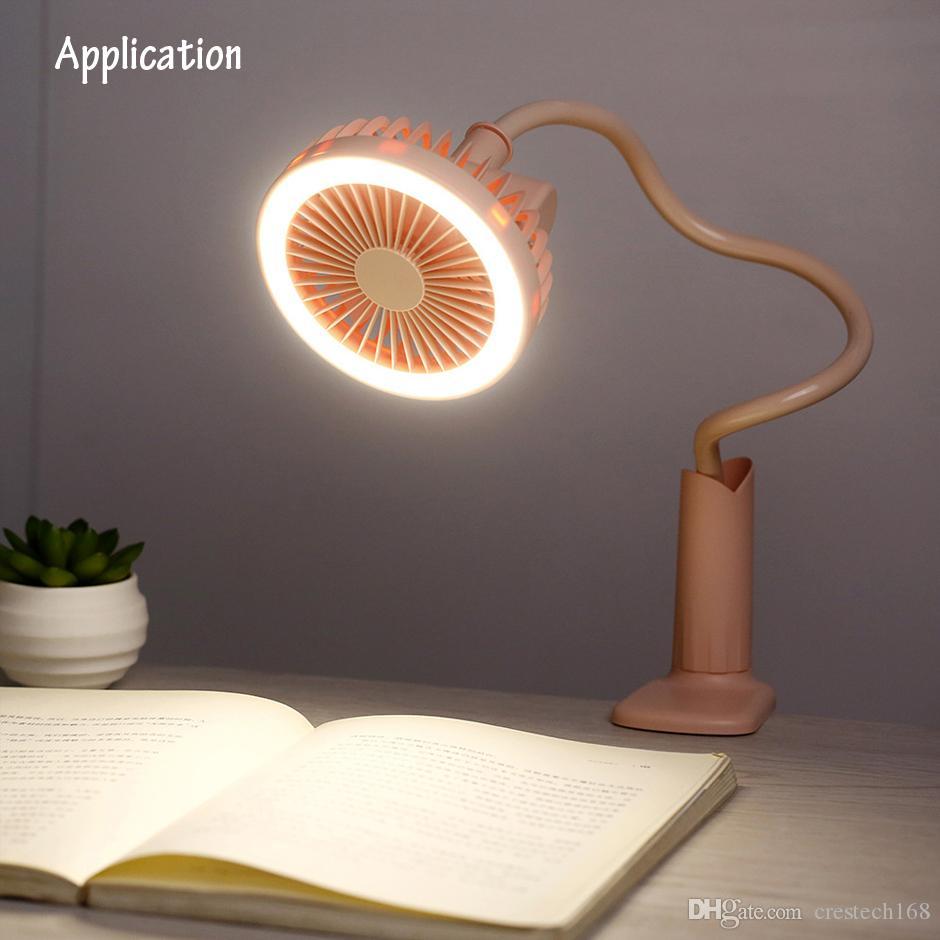 Ventilateur HUASA avec lampe de table à LED, long bras articulé souple et base de fixation, s'applique à la famille d'école de bureau, ventilateur à LED avec port USB.