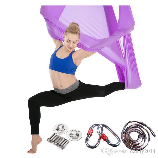 5*2.8m yoga hammock anti gravity yoga fitness sling stretching swing bed yoga stripes satin fabric aerial hammocks included accessories