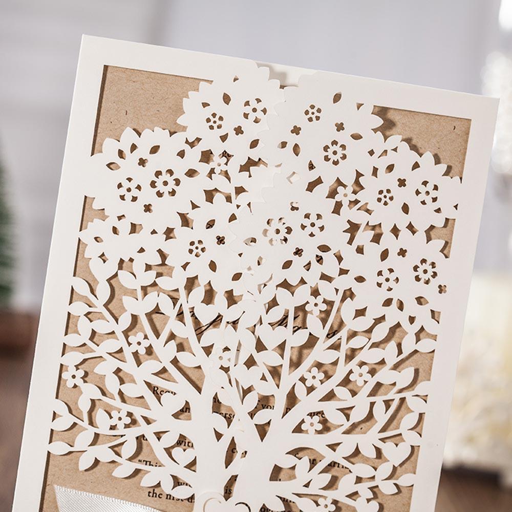 10 teile / satz Weiß Baum Laser Cut Ehe Hochzeit Elegante Bogen Band Entworfene Blume Blume Grußkarte Party Supplies Geschenk P20