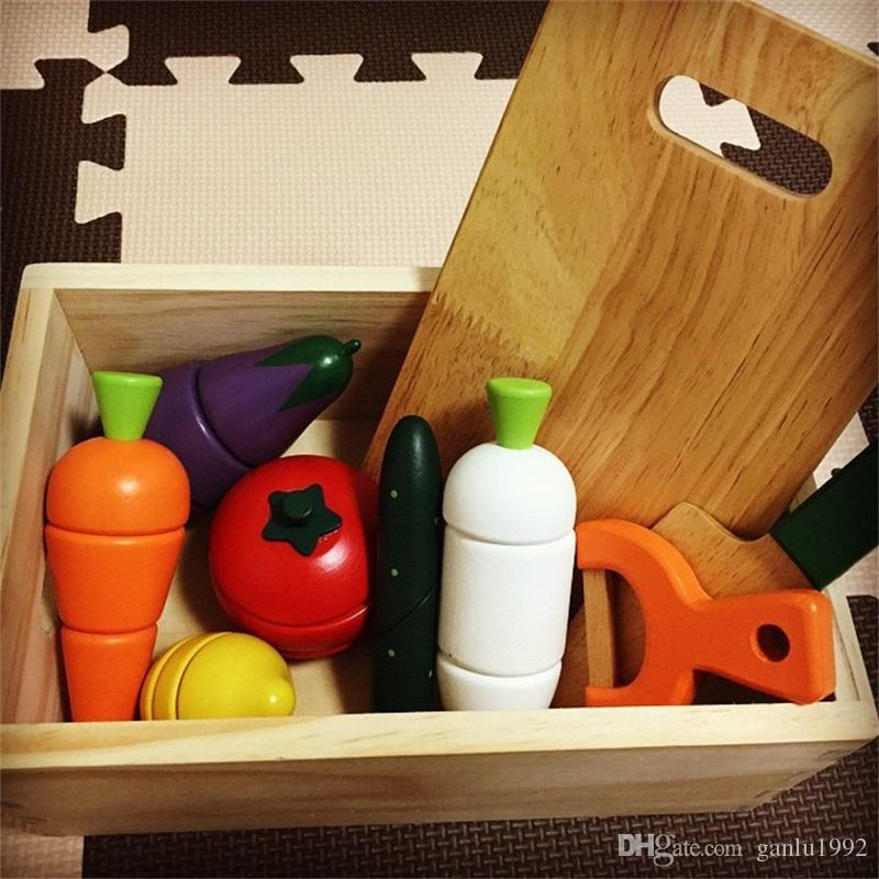 Wooden Vegetables Fruit Toy Children Pretend Play And Dress Up Kitchens Play Food Learning Education Toys Hot Sale 30xq W