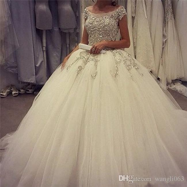 Stunning Beaded Crystal Ball Gown Wedding Dresses Plus Size Wedding Gown Ruched Tulle Corset Bridal Gowns