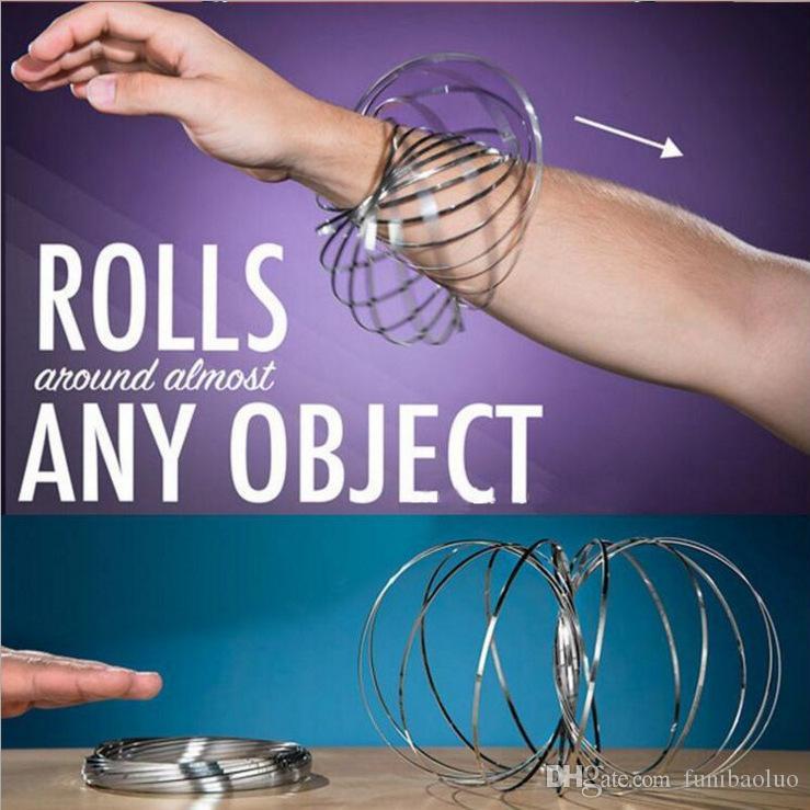 Flusso arcobaleno Toroflux Metal Flow Ring Decompression giocattolo in movimento olografico creativo anello giocattolo Xmax regali 13CM con scatola al minuto