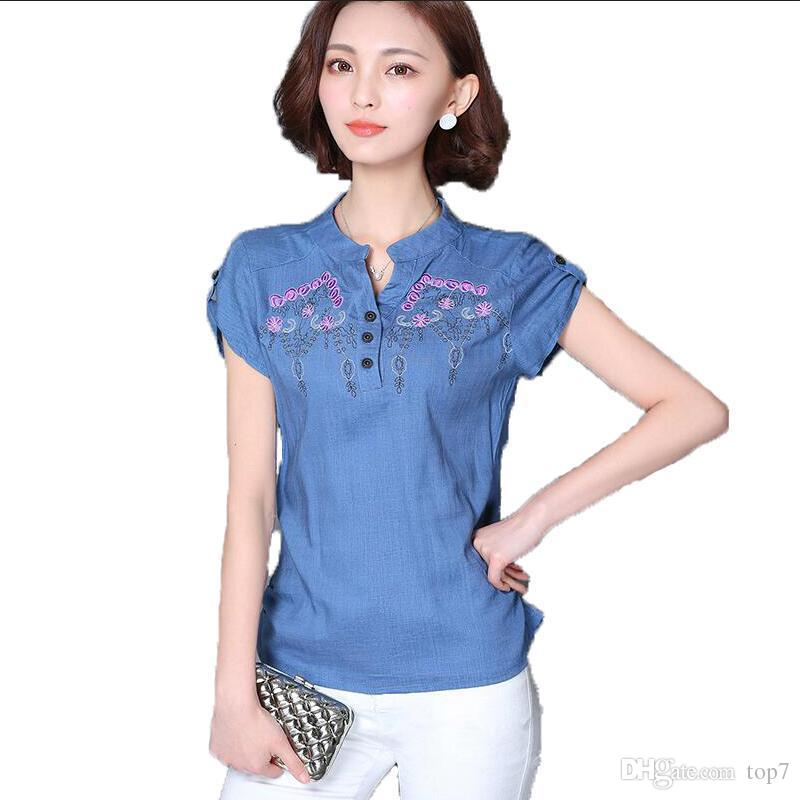 67a5bfadc9e Womens Tops Cotton Linen Floral Embroidery Womens Blouses 2018 ...