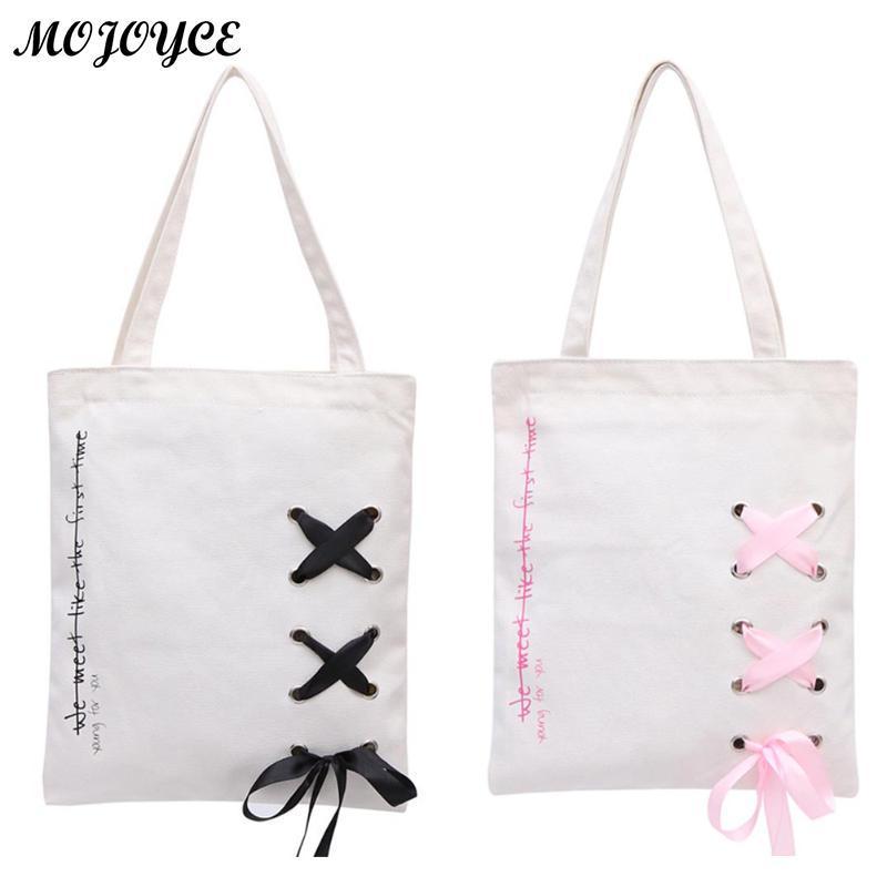 0f65c328203d Fashion Character Design Women S Handbag Durable Canvas Blank Shoulder Bag  Plain Black Color Casual Tote Reusable Shopping Bags Wholesale Purses White  …