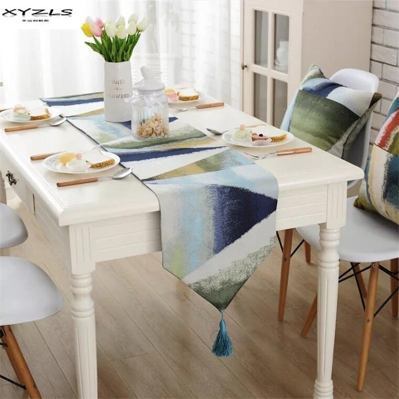 XYZLS Fashion Modern Table Runners Colorful Geometric Polyester Runner Table  Cloth With Tassels Home Decoration Table Runner Modern Table Runner Runner  ...