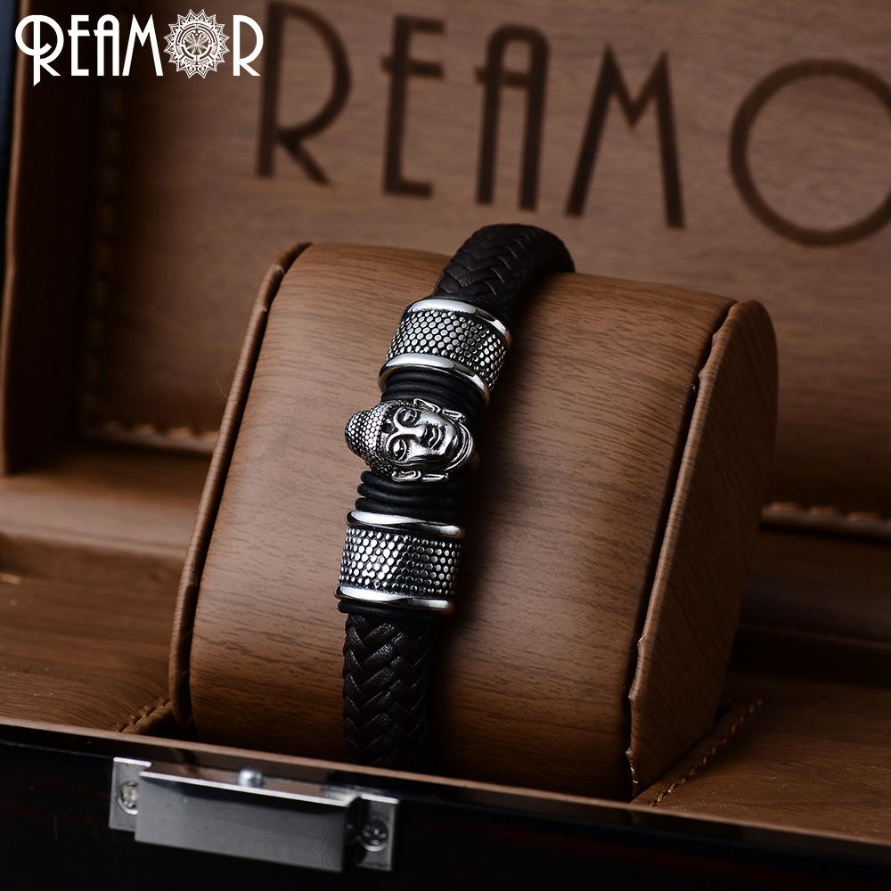 REAMOR 316L Stainless Steel Charms Bracelet Thailand Buddhist Culture Bracelet Fashion Wide Braided Leather Bangle Men's Jewelry