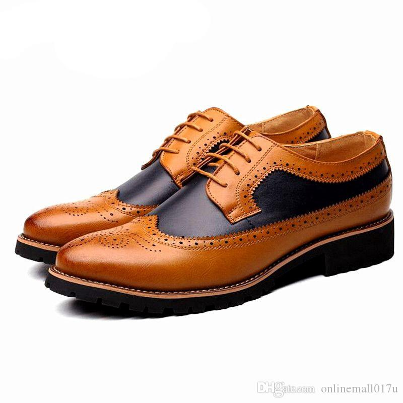 cdc5327a03 Compre Moda Para Hombre Vestido De Oficina Zapatos De Cuero Con Cordones  Fiesta Casual Para Hombres Conducir Oxford Hombre Vintage Tallado Brogue  Pisos A ...