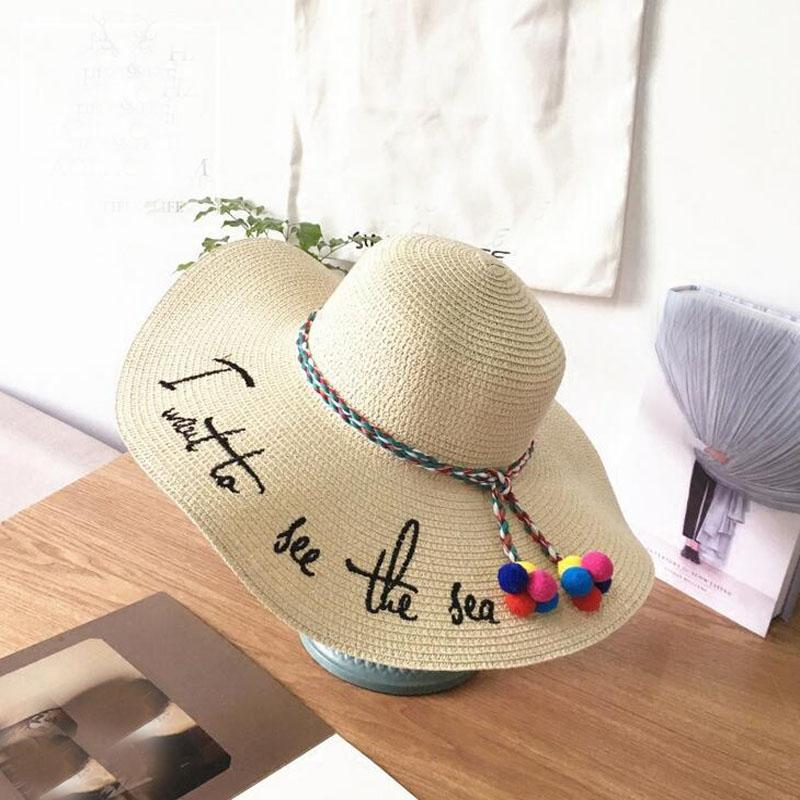6be56bbc1f4 Letter Embroidery Cap Big Brim Ladies Summer Straw Hat Youth Hats ...
