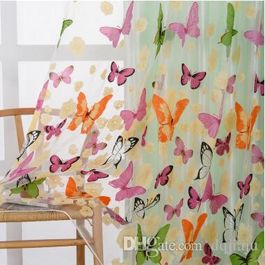 Superieur Creative Fresh Country Style Butterfly Printed Sheer Curtains Washable  Beautiful European Style Living Room Curtains Window Treatments Butterfly  Printed ...