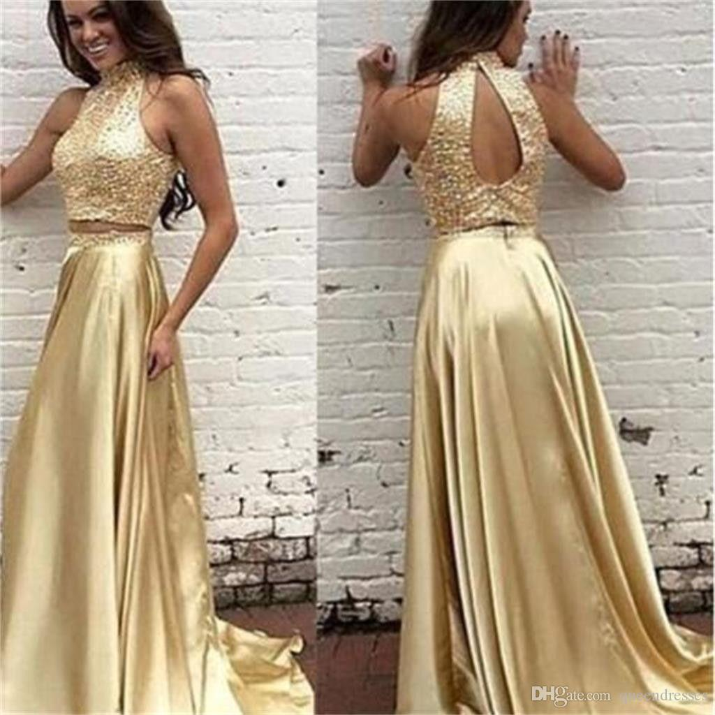 78b610eff366 Cheap Prom Dresses Two Pieces Golden Long Evening Gowns Beaded Halter  Sleeveless Floor Length Sheath Formal Women Pageant Party Dresses Shop Prom  Dress Xo ...