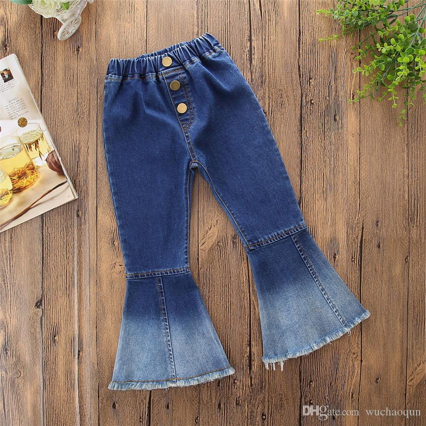 2018 Spring Autumn INS Girls Jeans Bell-bottomed Pants Spring Children Trousers For Girls Cut Denim Pants Long Trousers Children Clothes