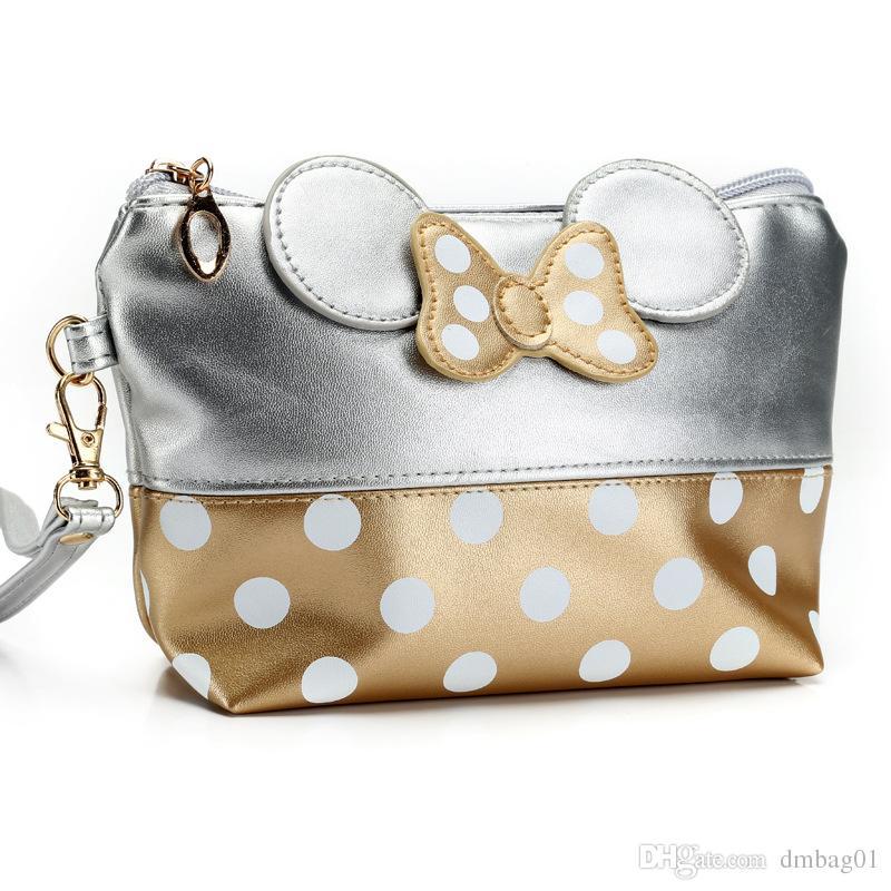 Sıcak satmak Fare sevimli debriyaj çanta ilmek makyaj çantası kozmetik çantası seyahat makyaj organizatör ve tuvalet kullanımı için