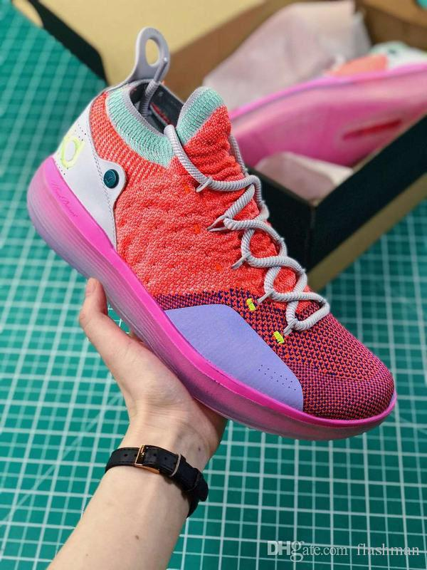 9258a4ab46dc KD 11 EYBL Basketball Shoes Men Kevin Durant XI Hot Punch Lime Blast Pure  Platinum Sneaker Youth Boys Shoes Little Boys Tennis Shoes From Flashman