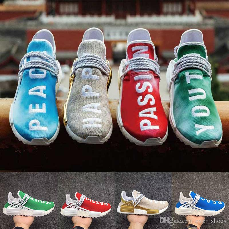 4276f0a2c8f09 2018 New Nmd Human Race Happy PASSION PEACE YOUTH Designer Shoes Men Women  Luxury Shoes Ultra The Embroidery Sneakers Size Big Size 36 47 Shoe Shops  Running ...