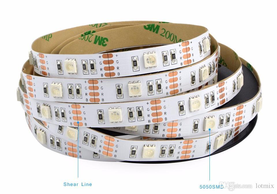 5 V 50 cm 1 m 2 m IP20 IP65 RGB 3528 60 LEDs / m / SMD 5050 30 LEDs / m USB LED şerit işık + 24Key TV Arkaplan Için uzaktan Kumanda