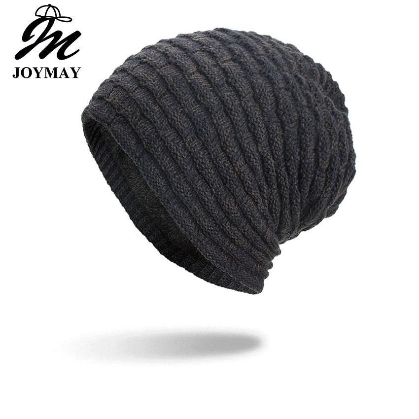 87ccebd91 Joymay 2018 New Winter Beanies Hat Unisex Plain Warm Soft Skull Knitting  Cap Hats Gorro Caps For Men Women Dropshipping WM100