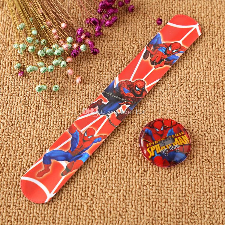 Fashion Snap Watches Kids Cartoon Watches for spiderman ultraman car Children Christmas Gift Sports High Quality Silicone Slap Wristwatch