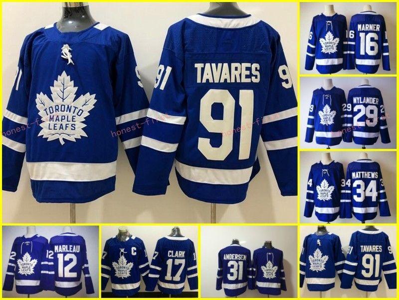 2019 Toronto Maple Leafs 34 Auston Matthews Jersey 91 John Tavares Hockey  Mitchell Marner William Nylander Frederik Andersen Blue White Stadium S  From ... de049734ce294