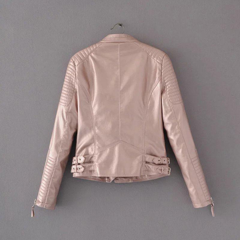 2017 Chaqueta de cuero rosa brillante Mujer Abrigos de piel sintética chaqueta Blazer Jack leren jas blouson cuir femme