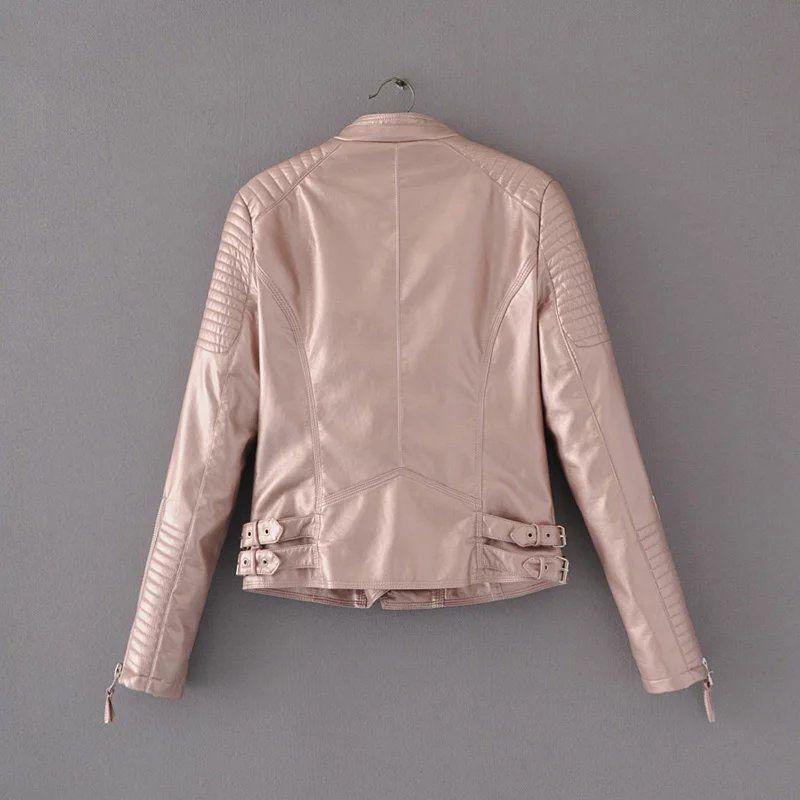 2017 rosa brilhante jaqueta de couro mulheres casacos de couro falso chaqueta blazer jack leren jas blouson cuir femme