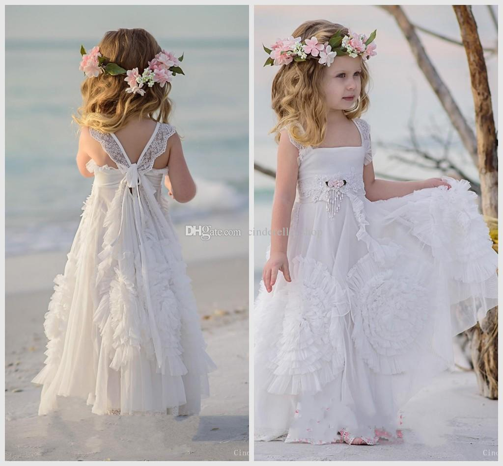 e8045503589 2018 Bohemian Flower Girls Dresses A Line Pleats Appliques Floor Length  Spaghetti Beach Boho Girls Pageant Kids Communion Party Gowns Cheap Flower  Girl ...